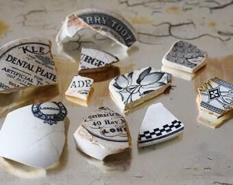 Vintage English Pottery Shards Black and White Mudlarking Finds Chemist Pots