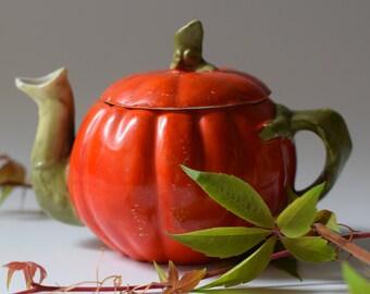 Vintage Pumpkin Teapot Halloween Decor