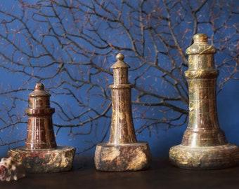 Vintage Stone Lighthouses Cornish Serpentine Souvenir Seaside Decor
