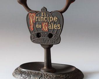Vintage Cigar Cutter Cast Iron Counter Top Principe de Gales Brunhoff Co.