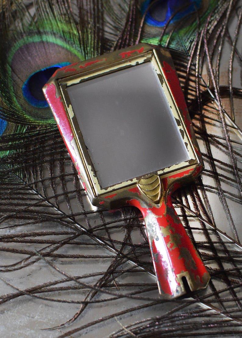 Vintage Powder Compact Mirror Art Deco Red Enamel Austria image 0