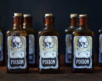 Poison Bottle Vintage Glass with Reproduction Skull Crossbones Limited Edtion