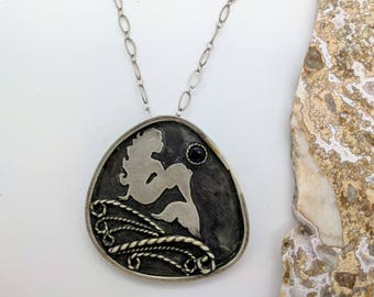 mermaid handmade sterling silver necklace