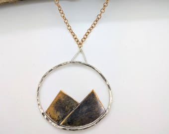 mountains brass sterling silver necklace