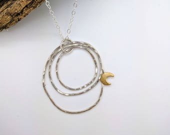hammered circles moon sterling silver necklace