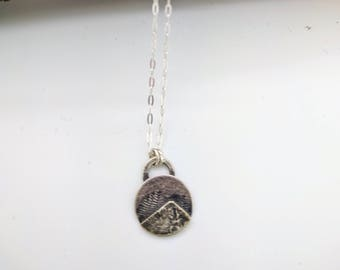mountain sterling silver tree necklace small