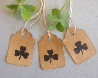 50 Tiny 3 Leaf Clover Stamped Tags Primitive  Coffee Stained Gift Tags Strung Hang Tags Scalloped edge  Tags