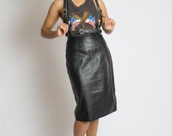 80's Highwaist Leather Pencil Skirt