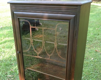 Antique Curio Cabinet, Book Case, Glass Doors, Small Cabinet, Square Curio  Cabinet