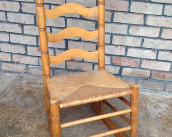 Vintage Ladder Back Rocking Chair With Rush Seat, Front Porch Rocker,  Country Rocker, Farm House, Rustic Tall Back Rocking Chair