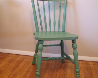 Custom Painted Distressed Wood Farm Chair, Vintage Farmhouse Chair, Painted Dining Chair, Wood Chair, Yellow, Red, Blue, Green, Desk Chair