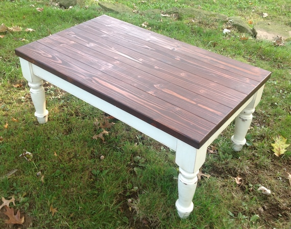 Sensational Custom Built Coffee Table Plank Top Farm House Chunky Leg Rustic Paint To Order Custom Painted Square Coffee Table Distressed Short Links Chair Design For Home Short Linksinfo