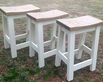 """Custom Saddle Seat Bar Stools, Backless Stools, Kitchen Stools, Rustic, Paint to Order, Farm House Stools, Counter Height, 24"""", 29"""""""