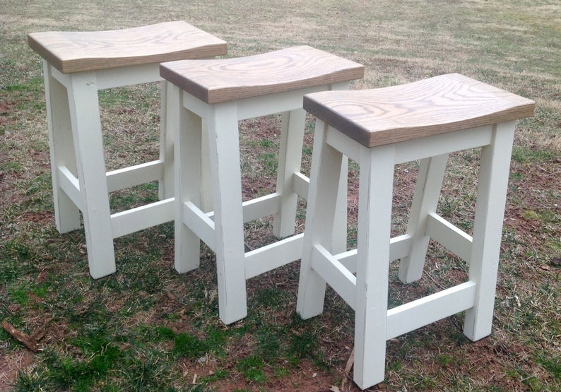Peachy Custom Saddle Seat Bar Stools Backless Stools Kitchen Stools Rustic Paint To Order Farm House Stools Counter Height 24 29 Machost Co Dining Chair Design Ideas Machostcouk
