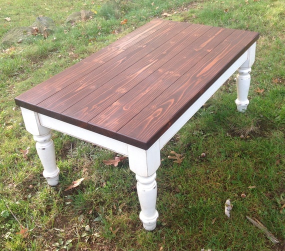 Cool Custom Built Coffee Table Plank Top Farm House Chunky Leg Rustic Paint To Order Custom Painted Square Coffee Table Distressed Short Links Chair Design For Home Short Linksinfo