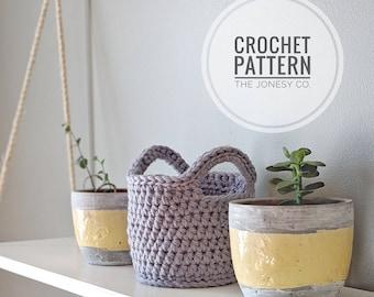 Crochet Pattern | Crochet Basket Pattern | Digital Download | Two Handle Basket Pattern