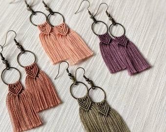 Macrame Earrings | Boho Fringe Earrings | Handmade Boho Earrings