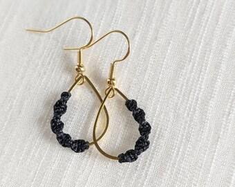 Black Macrame Earrings | Asymmetrical earrings | 18K Gold Plated Macrame Earrings | Micromacrame Earrings