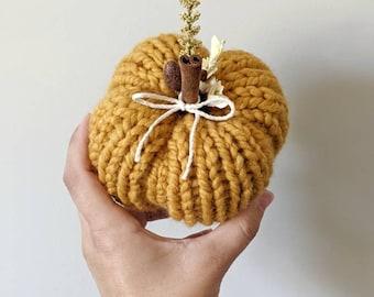 Mustard Pumpkin Decor | Decorative Pumpkin | Plush Knit Pumpkin | Fall Table Top Decor