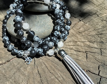 SNOWFLAKE OBSIDIAN Mala Beads with SILVER Suede Tassel | 108 Bead Crystal Mala Yoga Necklace | Om, Meditation Beads by Mayan Rose MayanRose