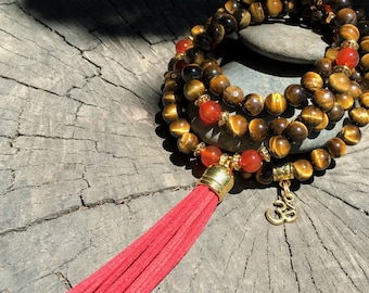 TIGER EYE & CARNELIAN Mala Beads with Red Suede Tassel | 108 Bead Crystal Mala Yoga Necklace | Om Meditation Beads by Mayan Rose MayanRose