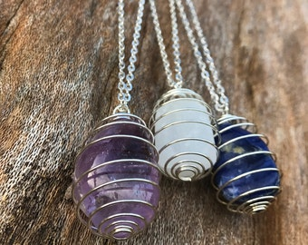 CHOOSE CRYSTAL: Cage Necklace on Silver Chain | Crystal Healing Necklace | Gemstone Necklace - Custom Length | Mayan Rose MayanRose