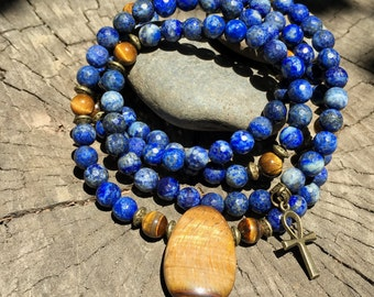 LAPIS LAZULI & TIGER Eye Mala for Meditation | Yoga Beads | 108 Mala Beads | Crystal Healing Mala | Om Yoga Necklace by Mayan Rose MayanRose