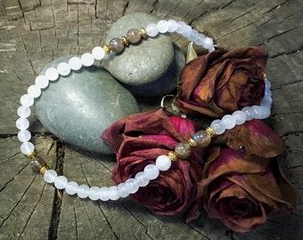 CROWN CHAKRA Quartz Necklace | Seventh Chakra Healing Jewelry for Spiritual Balance & Meditation | Crystal Healing Yoga Necklace Mayan Rose