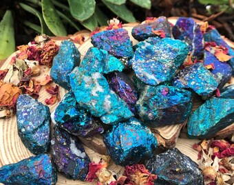 PEACOCK ORE Chalcopyrite (Large Grade A Natural) Rough Blue Metallic Crystals Raw Gemstone Minerals | Crystal Healing Jewelry Supply