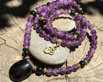 AMETHYST & OBSIDIAN Mala for Meditation | Yoga Beads | 108 Mala Beads | Crystal Healing Mala | Om Yoga Necklace by Mayan Rose MayanRose