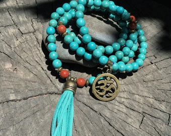 TURQUOISE HOWLITE Mala Beads with TEAL Suede Tassel | 108 Bead Crystal Mala Yoga Necklace | Om, Meditation Beads by Mayan Rose MayanRose