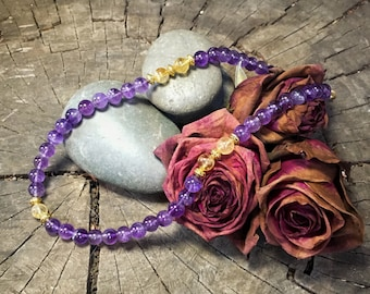THIRD EYE CHAKRA Amethyst Necklace | Sixth Chakra Healing Jewelry for Awareness & Intuition | Crystal Healing Yoga Necklace by Mayan Rose
