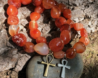 CARNELIAN Ankh Bracelet - Egyptian Cross - Sacral Chakra - 2nd Chakra - Eye of Horus Pharaoh Isis, Nefertiti, Eye of Ra, Pyramid Egypt
