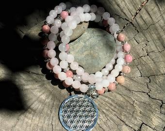 Rose Quartz & Rhodonite Flower of Life Mala Beads | 108 Mala Beads for Heart Chakra | Meditation Yoga Prayer Beads , Mayan Rose MayanRose
