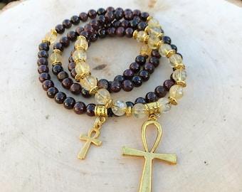 GARNET & CITRINE Mala Beads with Egyptian Ankh | Crystal Healing 108 Bead Mala for Meditation, Yoga, Prayer Beads, Japa Mala