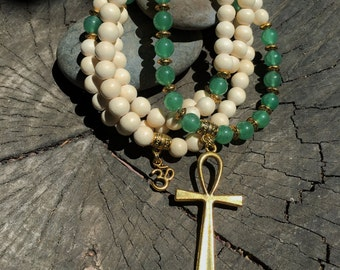 Egyptian Mala Beads | Unisex Green Aventurine & White Wood 108 Bead Ankh Necklace |  Meditation Yoga Prayer Rosary | Eye of Horus Ra