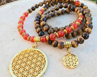 FLOWER OF LIFE Unisex Mala Beads with Tiger Eye & Carnelian | 108 Mala Necklace for Men Meditation Yoga | Men's Sacred Geometry Necklace