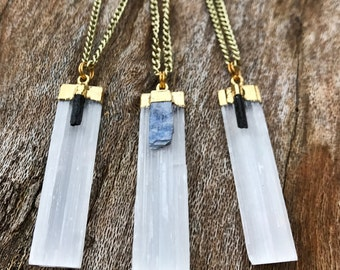 SELENITE & BLACK TOURMALINE Crystal Necklace on Antique Gold Chain | Natural Selenite Blade Pendant, Crystal Healing Necklace | Mayan Rose