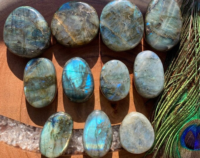 Featured listing image: XL LABRADORITE Stone - 2 in. | Worry Stone | Meditation Tool | Crystal Healing for Third Eye & Intuition | Yoga, Reiki, Sixth Chakra Healing