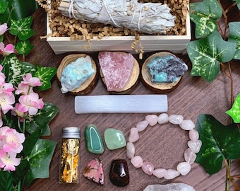 Self Love Crystal Kit | Anniversary, Birthday Gift For Her, Mom, Wife | Crystals for Love, Sage Gift Set, Meditation Altar, Mayan Rose