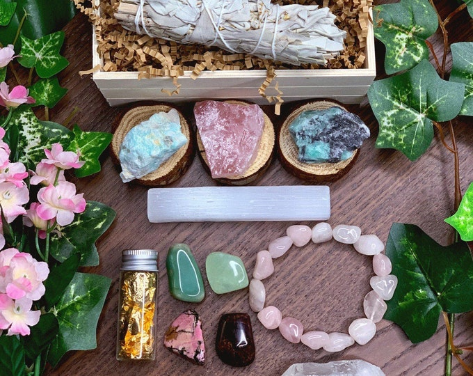 Featured listing image: Self-Love Crystal Kit | Anniversary Birthday Gift For Her, Wife, Girlfriend | Heart Chakra Gemstone Sage Gift Set | Meditation Altar, Wicca