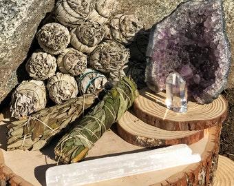 RELAXATION KIT:  Sage Smudge & Crystals | Black Sage Bundle, Lavender, Amethyst Geode, Selenite for Home Cleansing, Protection, Smudging Kit