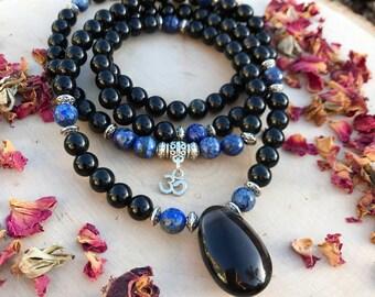 OBSIDIAN & LAPIS LAZULI Mala for Meditation | Yoga Beads | 108 Mala Beads | Crystal Healing Lapis Mala | Unisex Necklace for Men  Men's Mala
