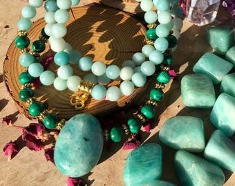 AMAZONITE & MALACHITE Meditation Mala | 108 MalaBeads | Genuine Crystal Healing Unisex Om Mala | Yoga Prayer Beads Mayan Rose MayanRoseShop