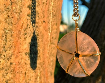 ROSE QUARTZ Crystal Necklace on Antique Gold Chain | Pink Quartz Doughnut Donut Pendant, Round Circle Crystal Necklace for Heart Chakra