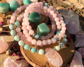ROSE QUARTZ & AMAZONITE Meditation Mala | 108 MalaBeads | Pink Crystal Healing Yoga Mala Necklace | Heart Chakra Prayer Beads | Reiki Mantra