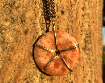 SUNSTONE Crystal Necklace on Antique Gold Chain | Sun Stone Copper Doughnut Donut Pendant, Round Circle Crystal Necklace for Third Chakra