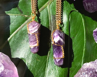 AMETHYST Double Terminated Pendant | Crystal Necklace on Antique Gold Chain | Purple Quartz Point Pendant, Crystal Healing Necklace