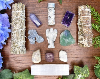 Sleep with Angels Crystal Kit | Crystals for Dreaming, Meditation, Astral Travel | Spiritual Gift Set | Meditation Altar, Dreams,