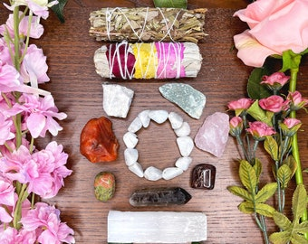Pregnancy & Fertility Crystal Gift Set | New Mom Gift Ideas, Spiritual Gifts for Her | Healing Crystals for Baby Shower | Crystal Sage Kit